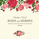 Vintage wedding invitation with pink and red roses on a light background Vector illustration