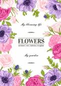 Floral vector background with flowers in pastel colors Anemone rose eustoma eustoma