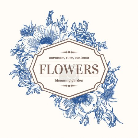 Illustration for Vintage vector frame with summer flowers in blue. Anemone, rose, eustoma, eryngium. - Royalty Free Image