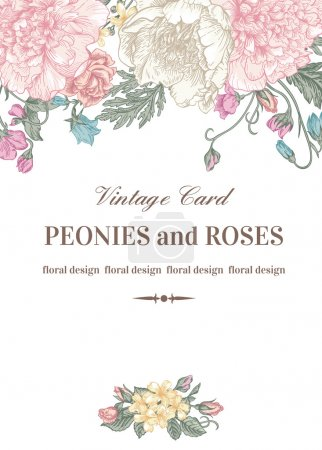 Illustration for Vintage floral card with garden flowers. Peonies, roses, sweet peas, bell. Romantic background. Vector illustration. - Royalty Free Image