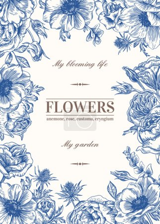 Illustration for Floral vector background with flowers in blue. Anemone, rose, eustoma, eustoma. - Royalty Free Image