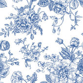 Seamless vector vintage pattern with bouquet of blue flowers on a white background Peonies roses sweet peas bell Monochrome