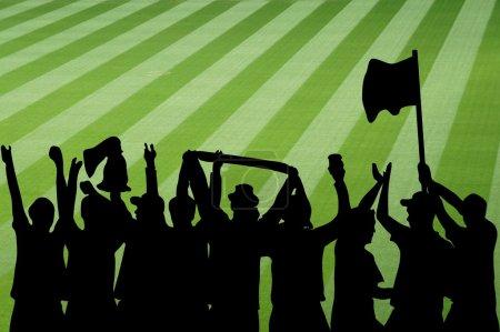 Photo pour Illustration de la célébration des fans de football avec une partie du terrain de football - image libre de droit