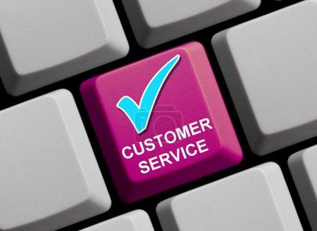 Photo pour Tout sur le Service à la clientèle en ligne - symbole de clavier d'ordinateur - image libre de droit