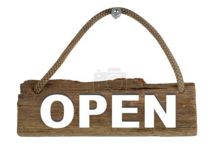 Photo pour Vieille planche en bois avec la corde affichant ouvert - image libre de droit