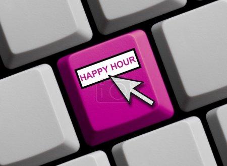 Photo pour Clavier d'ordinateur avec la flèche de souris affichant l'happy hour - image libre de droit