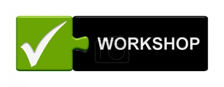 Photo for Green and black Puzzle Button showinghook and workshop - Royalty Free Image