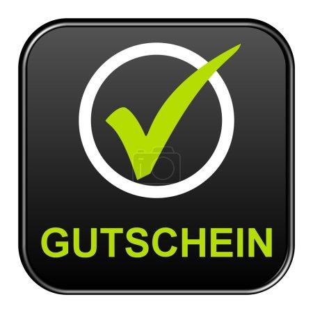 Photo pour Un bouton isolé affichant le coupon dans la langue allemande - image libre de droit