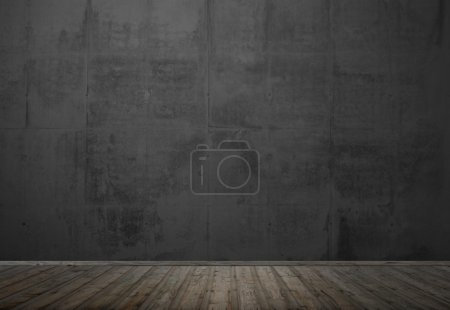 Photo for Empty room with wooden floor and dark concrete wall - Royalty Free Image
