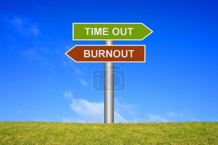 Photo for Signpost showing directions Time out or Burnout - Royalty Free Image