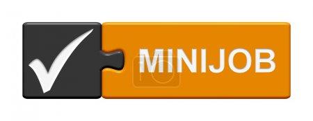 Foto de Botón gris naranja de Puzzle con gancho mostrando Minijob - Imagen libre de derechos