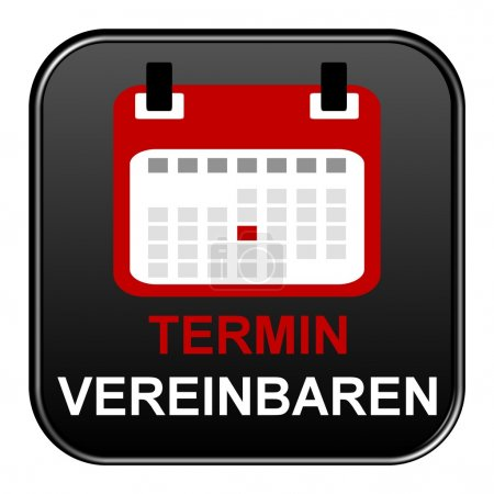 Black Button showing appointment german