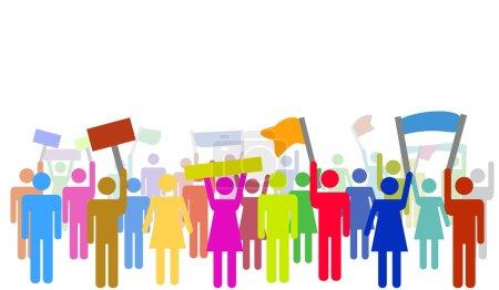 Photo pour Illustration de nombreux manifestants colorés isolés pour protester - image libre de droit