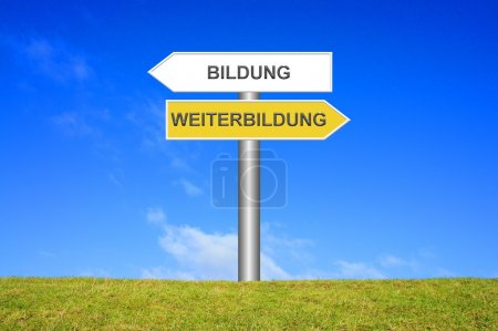 Signpost showing training or education in german
