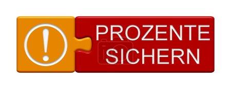 Photo pour Puzzle à bouton de puzzle deux pièces avec la représentation du symbole enregistrer ici en langue allemande - image libre de droit