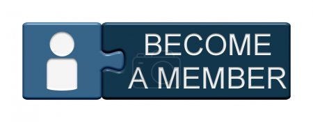 Puzzle Button of two puzzle pieces with symbol showing become a member