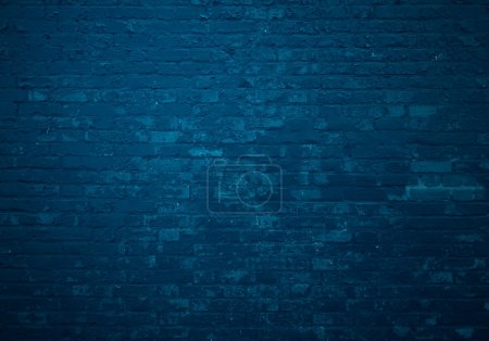Dark blue brick wall as background