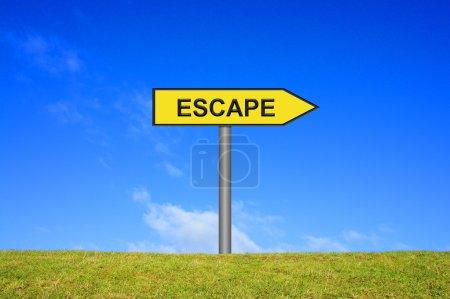 Signpost showing escape