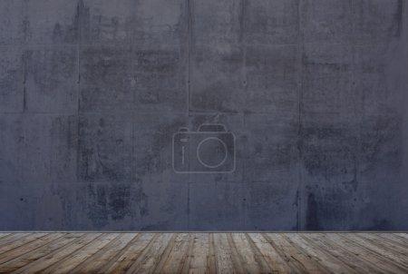 Photo pour Chambre vide avec sol en bois et mur grunge en pierre - image libre de droit