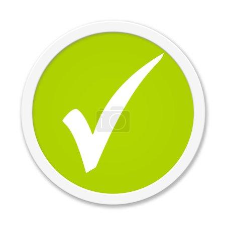Photo pour Modern bouton vert isolé avec symbole montrant crochet - image libre de droit