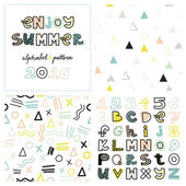 alphabet in pastel colors and geometric patterns