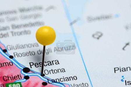 Ortona pinned on a map of Italy