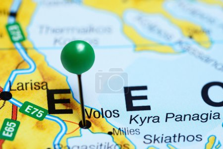 Volos pinned on a map of Greece