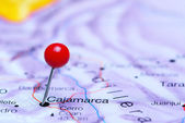 Cajamarca pinned on a map of America