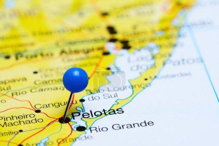 Pelotas pinned on a map of Brazil