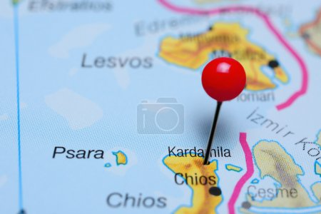 Kardamila pinned on a map of Greece