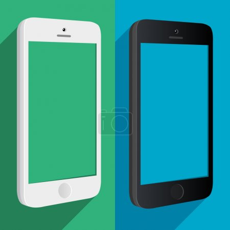 Illustration for Black and white phone MockUp three sides Flat style - Royalty Free Image