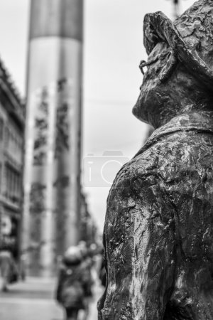 James Joyce Statue staring towards the Spire on O'Connell Street