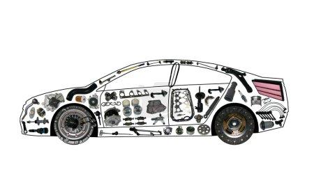 Photo pour Accélération voiture détail entraînement moteur force garage engrenage - image libre de droit