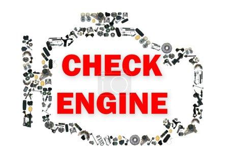 Photo pour Vérifier le symbole du moteur. Image de pièces détachées. De nombreux kits de pièces détachées - image libre de droit