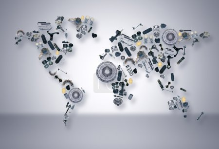 World map of the spare parts for shop auto aftermarket