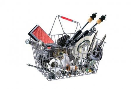 Basket with many spare parts for the passenger car...