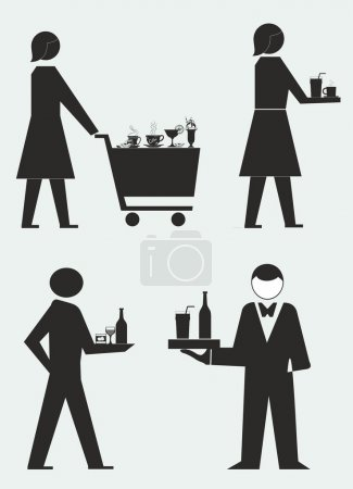 Vector illustration of servicing people