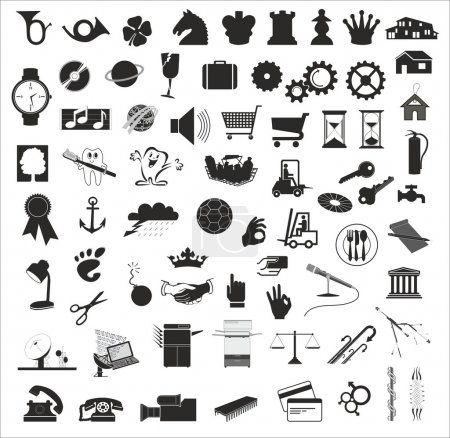 Set of various vector design elements in black and white