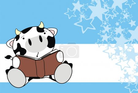 Cute baby cow reading cartoon background