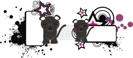 Illustration for Panther funny cartoon copyspace in vector format very easy to edit - Royalty Free Image