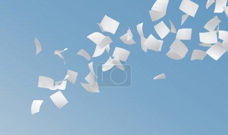 Photo pour Livres blancs volant sur fond bleu ciel . - image libre de droit