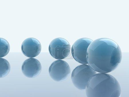 Foto de Cubo de vidrio y esferas de fondo blanco. - Imagen libre de derechos
