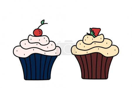 Illustration pour Deux cupcakes aux cerises et fraises crème, illustration vectorielle sur fond blanc - image libre de droit