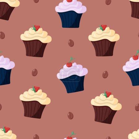 Illustration pour Motif sans couture avec cupcakes au chocolat à la crème et aux baies. Illustration vectorielle d'un dessert doux - image libre de droit
