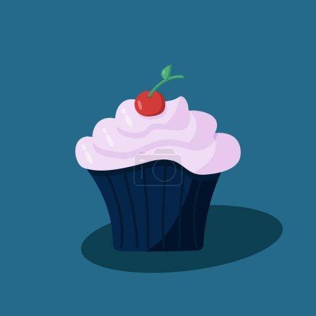 Illustration pour Illustration vectorielle d'un cupcake dessert sucré à la crème de baies et cerises - image libre de droit