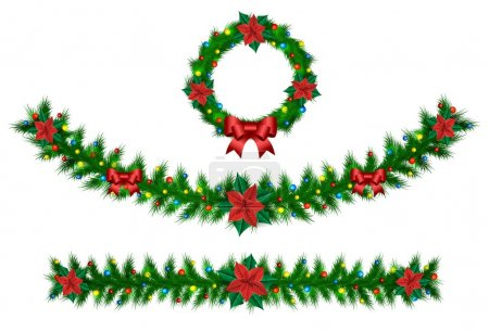 Illustration for Christmas vector garland from needles, lights, ribbons and christmas roses - Royalty Free Image