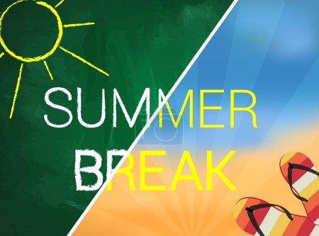 Illustration for Summer break written text on green chalkboard - Royalty Free Image