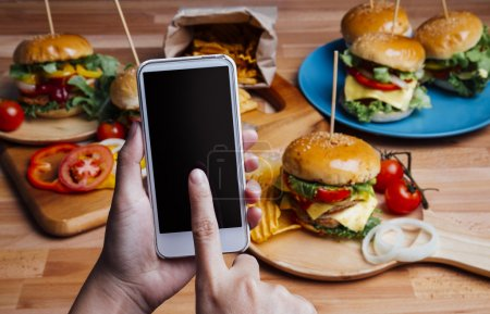 Hamburgers with moblie phone