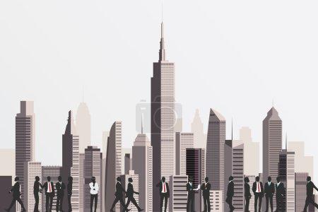 Illustration pour Silhouettes de gens d'affaires avec gratte-ciel en toile de fond . - image libre de droit