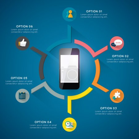 Illustration pour Gabarit de cercle moderne pour le projet d'entreprise ou de la présentation avec des cercles et six segments de. - image libre de droit
